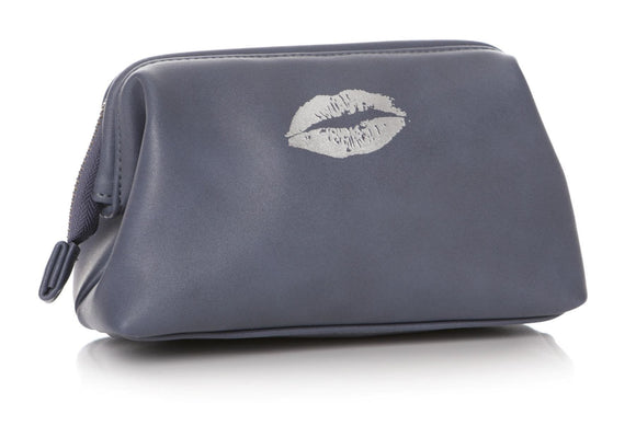 Ladies Silver Lips Design Cosmetic Bag Blue - Caths Direct