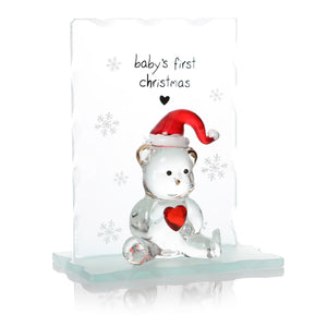 Baby's First Christmas Glass Teddy Bear - Caths Direct