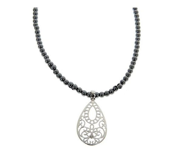 Equilibrium Hermatite Beads Necklace with Filigree Teardrop Pendant - Caths Direct