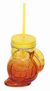 400ML Yellow & Orange Toucan Style Drinking Jar With Straw - Caths Direct