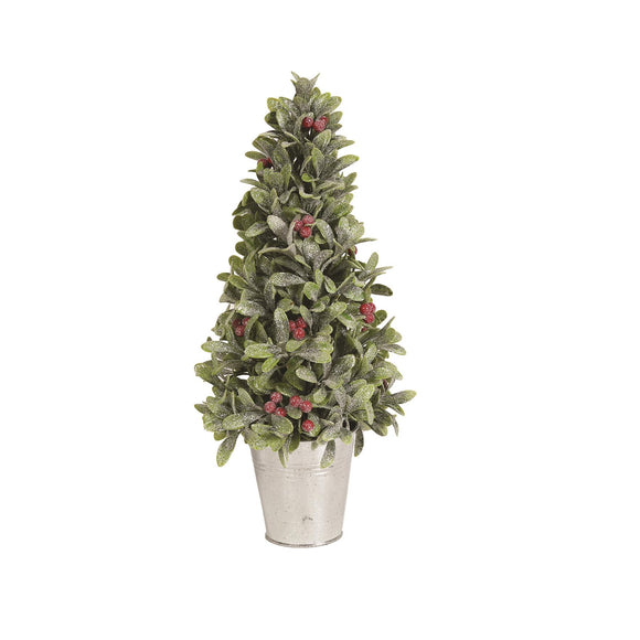 Glistening Christmas Leaf & Berry Tree In Pot 44cm - Caths Direct