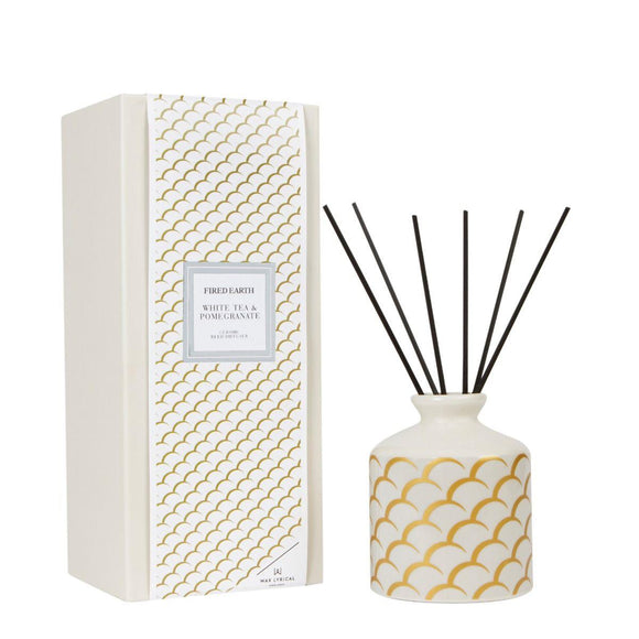 Fired Earth White Tea & Pomegranate Ceramic Reed Diffuser Set 200ml by Wax Lyrical - Caths Direct