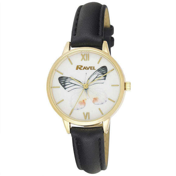 Ravel Ladies Butterfly Dial Watch Black Strap RF003.03