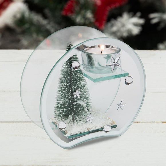 Christmas Tree in Glass Tea Light Candle Holder - Caths Direct