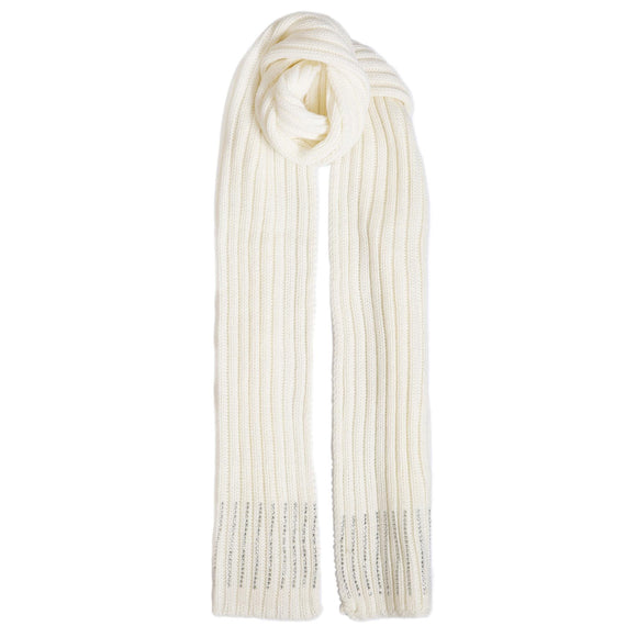 Dents Winter White Rib Knit Scarf with Beaded Border - Caths Direct