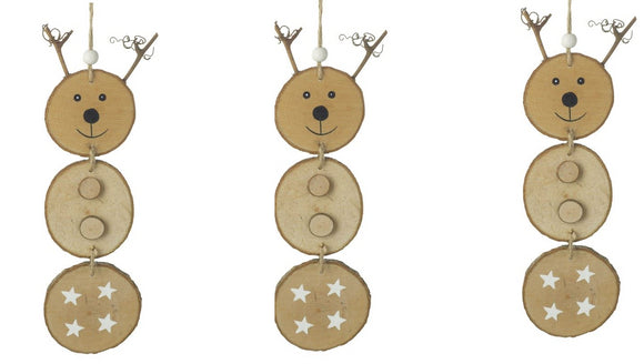 Trio of Hanging Wooden Reindeer Decorations - Caths Direct