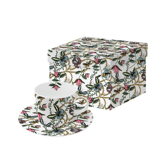 Bugs & Butterflies Design Espresso Cup & Saucer Set Boxed - Caths Direct