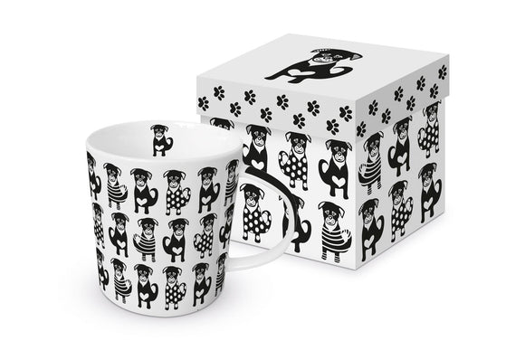 Black Dogs Design Trend Mug in Matching Gift Box by PPD - Caths Direct