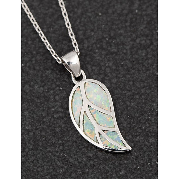 Opalescent Leaf White Gold Plated Necklace - Caths Direct
