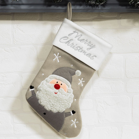 Grey Santa Christmas Stocking - Caths Direct