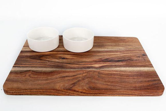 Wooden Serving Board with 2 White Bowls - Caths Direct