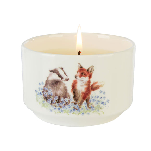 Wrendale Fox Badger Illustration Ceramic Trinket Jar Candle Meadow - Caths Direct