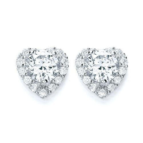 Purity Stone Set Heart Earrings - Caths Direct