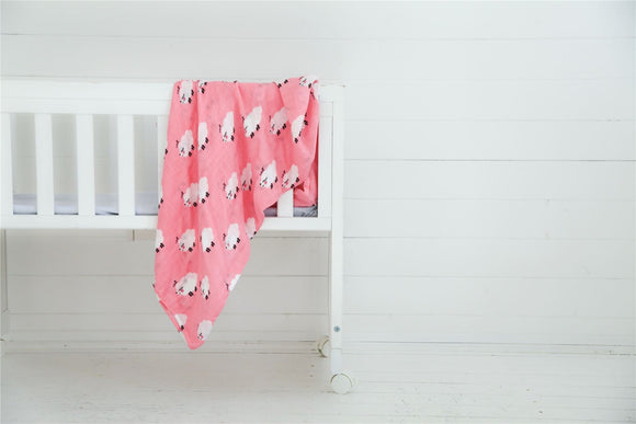Bullabaloo Pram Blanket, Pink Sheep, 60x60cm - Caths Direct