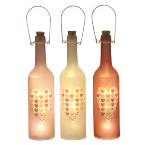 LED Heart Design Bottle Set of 3 - Caths Direct