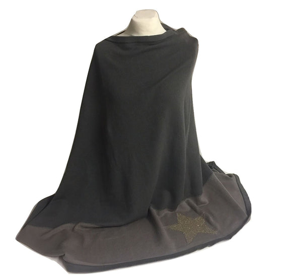 Ladies Two Tone Grey Poncho with Gold Star Design - Caths Direct