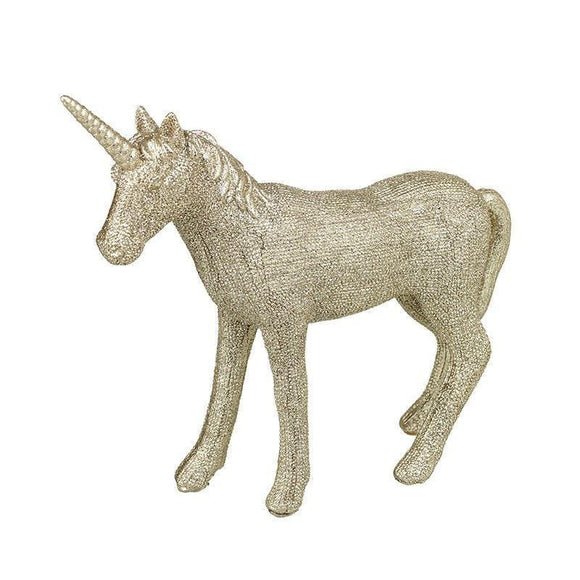 Gold Glitter Finish Unicorn Ornament
