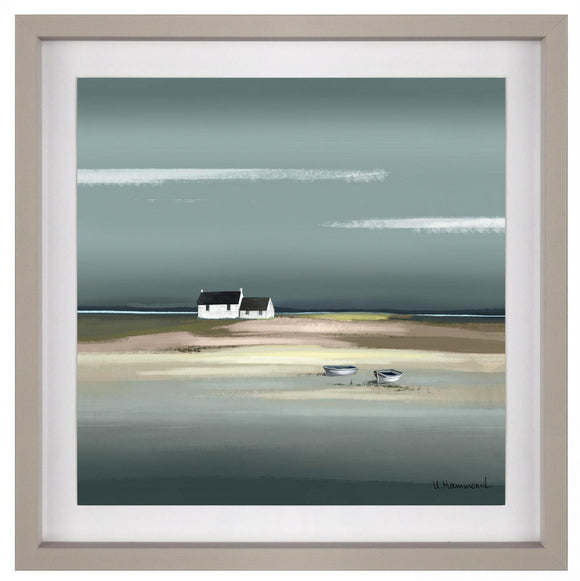 Azure Sea Beach Scene Framed & Glazed with Raised Paper Picture - Caths Direct