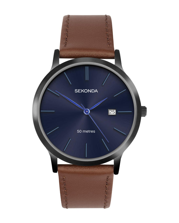 Sekonda Gents Blue Dial Watch with Tan Leather Strap 1775