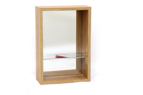Wood Veneer Mirrored Shelf Unit 31cm x 21cm - Caths Direct