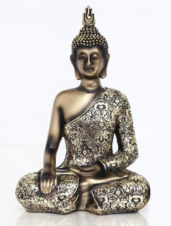 Antique Gold Effect Buddha One Hand on Knee 27cm - Caths Direct