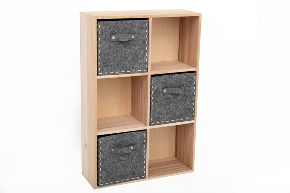 Wooden Storage Unit with Grey Drawers - Caths Direct