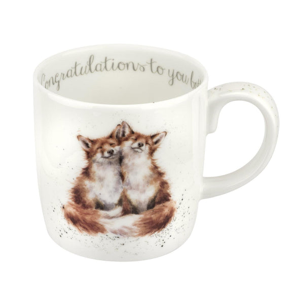 Royal Worcester Wrendale Designs Congratulations To You Both Large Fine Bone China Mug Boxed - Caths Direct