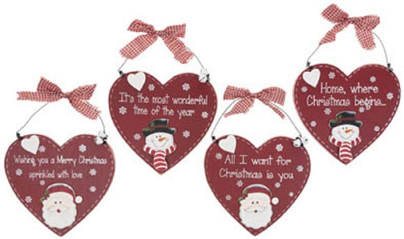 Christmas Heart Wall Plaque - Caths Direct