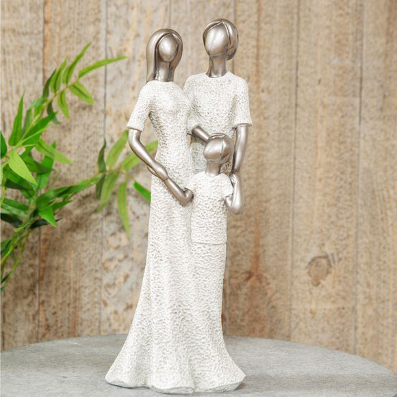 Family Statue Ornament Silver & Grey Stone Effect - Caths Direct