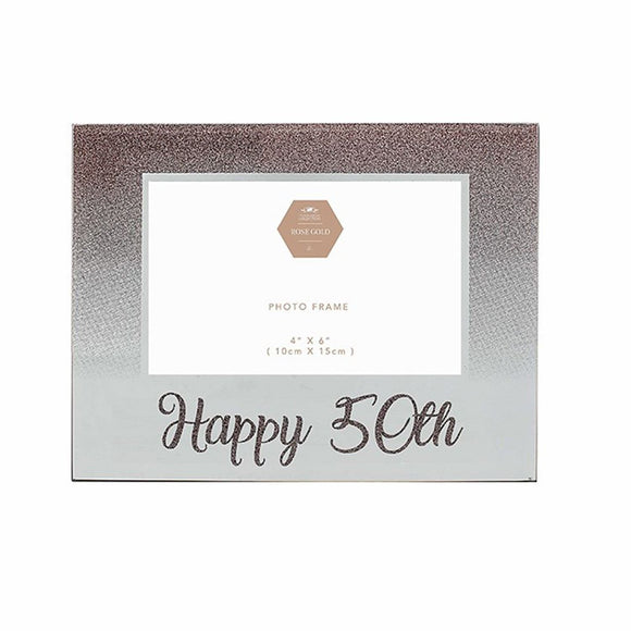 Rose Gold Glitter Glass Happy 50th Photo Frame