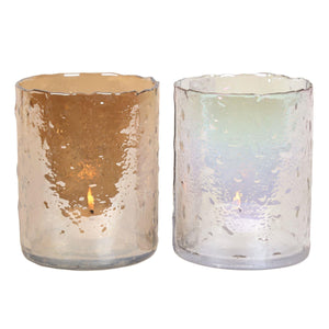 Lustre Glass Hurricane Candle Vase - Caths Direct