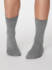 Ladies Soft Bamboo Solid Jackie Socks One Size Mid Grey Marle - Caths Direct