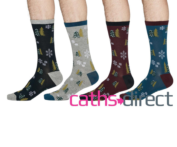 Mens Soft Bamboo Timber Christmas Tree Socks Size 7-11 by Thought - Caths Direct