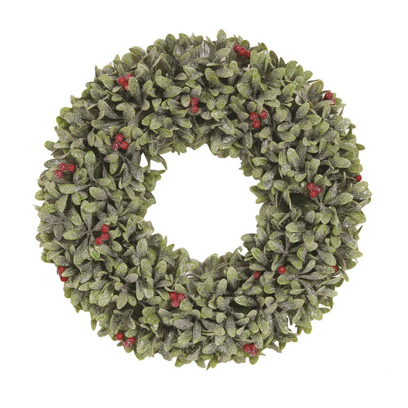 Glistening Leaf & Berry Christmas Wreath 40cm - Caths Direct
