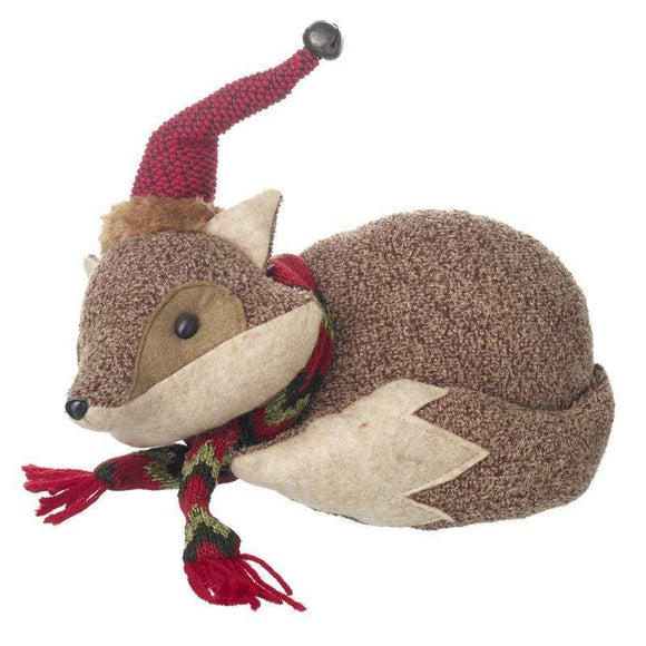 Plush Festive Fox Doorstop Christmas Decoration - Caths Direct