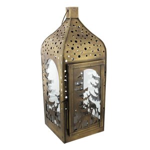 Metal Lantern with Reindeer Design - Caths Direct