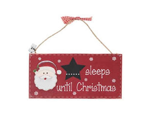 Santa Sleeps to Christmas Plaque - Caths Direct
