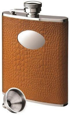 Stainless Steel and Faux Crocodile Brown Hip Flask Set