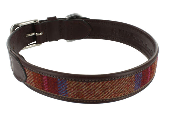 Small Pink Islay Tweed Edge Leather Dog Collar