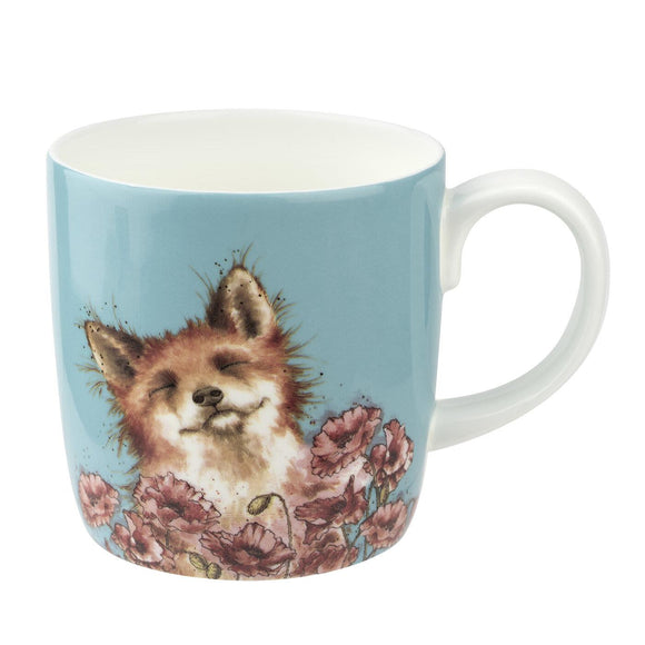Royal Worcester Wrendale Design Fox in Poppy Field Large Mug - Caths Direct