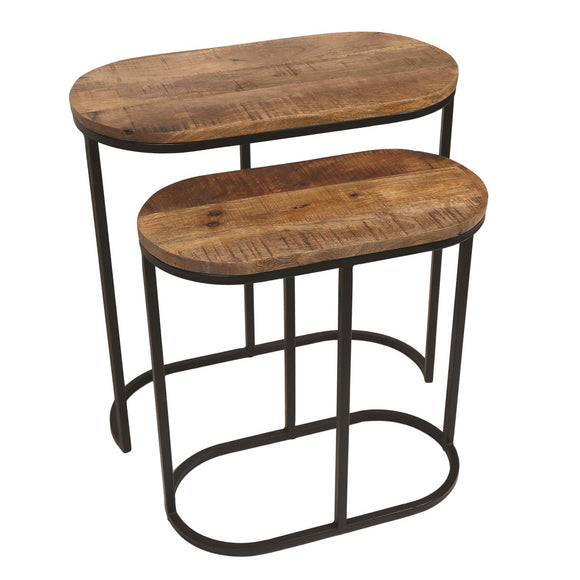 Set of 2 Mango Wood Nesting Side Tables 60cm & 50cm