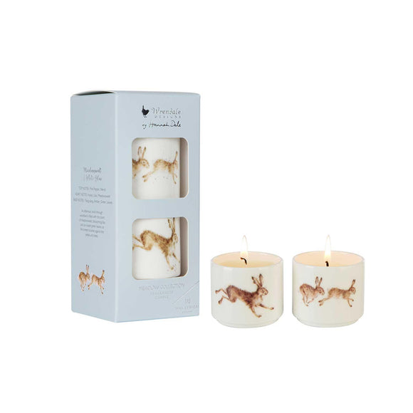 Wrendale Hare Illustration Ceramic Candles Gift Set Meadow - Caths Direct