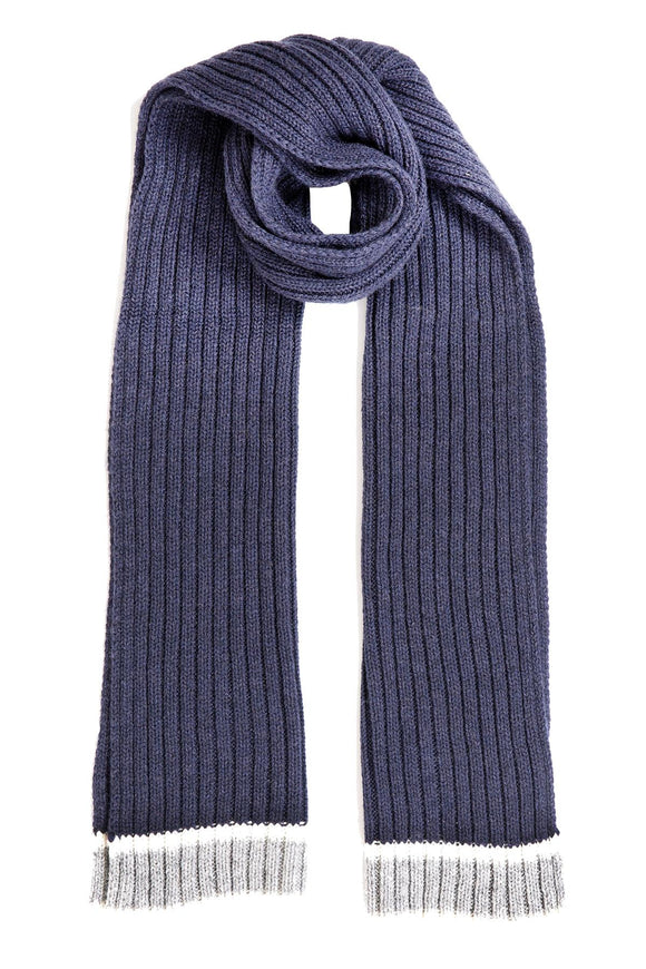 Dents Mens Knitted Scarf with Striped Edge Navy Blue with Grey - Caths Direct
