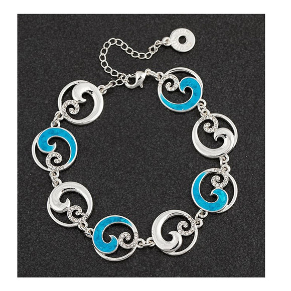 Sea Breeze Wave Design Silver Plated Bracelet - Caths Direct