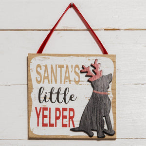 Santa's Little Yelper Dog Plaque - Caths Direct