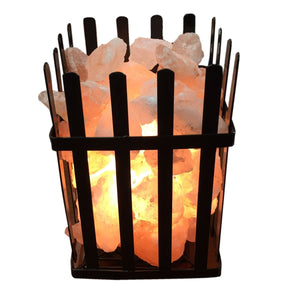 Himalayan Glow Salt Crystal Lamp Metal Fire Pit