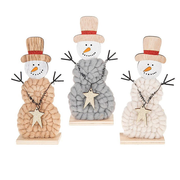 Woolly Christmas Snowmen Set of 3 - Caths Direct