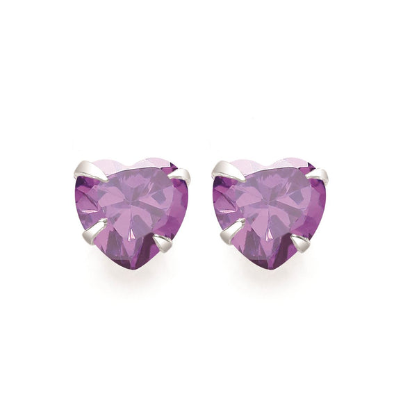 Purple Heart Stud Earrings - Caths Direct