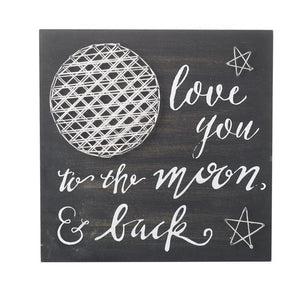 Love You to the Moon & Back Black & White Wall Sign - Caths Direct