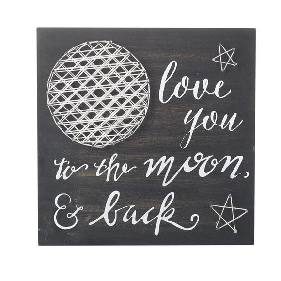 Love You to the Moon & Back Black & White Wall Sign